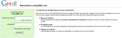 Interfaz de correo de eniac2000.com con tecnología GMail