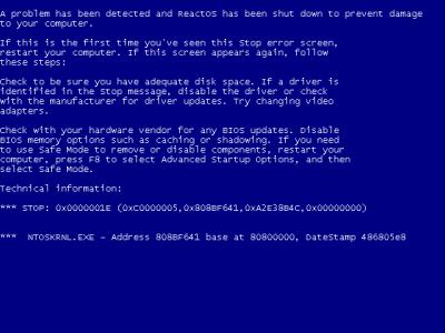 Pantallazo azul en ReactOS