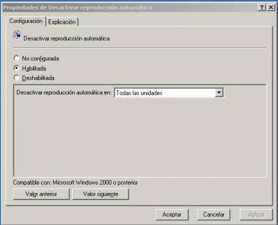 Desactivar ejecución automática