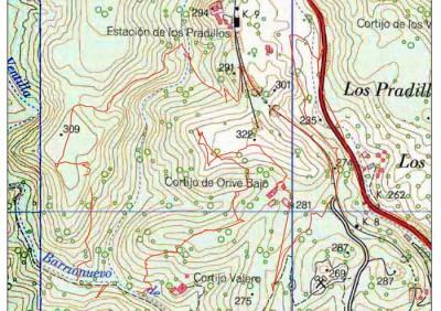 Mapa topográfico de la zona