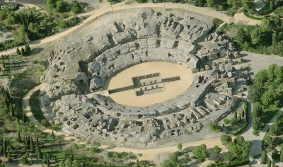 Vista aérea del Anfiteatro de Itálica