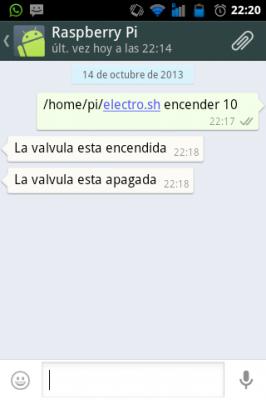 Captura de pantalla del intercambio de mensajes