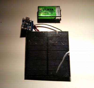Batería cuadrada de 9v y panel solar con regulador