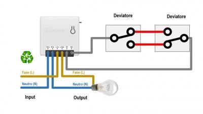 Esquema de montaje de un Sonoff Mini con interruptores conmutados
