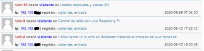 Registros de WordPress mostrando la IP del servidor proxy inverso