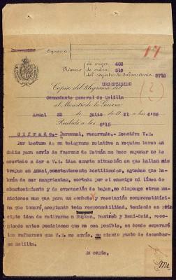 Telegrama del 22 de julio a las 4:55h, del General Silvestre