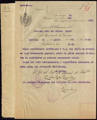 Telegrama del 22 de julio a las 17:50h del Coronel Jefe de Estado Mayor